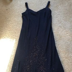 🌷navy blue dress with beading  size 16